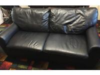 3 SEATER BLACK LEATHER SOFA - B45 (not Droitwich)