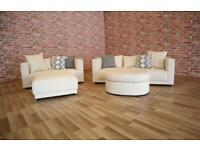 BRAND NEW Dwell 'Trevi' Light Cream 3 + 2 Seater Sofas + Footstools Suite