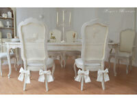 !!! CHRISTMAS SALE !!! *** UNIQUE *** French Shabby Chic Antique Dining Table & Six Chairs !!!