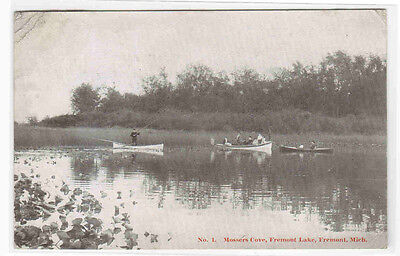 For sale Boating Mossers Cove Lake Fremont Michigan 1908 postcard