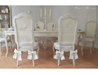 *** UNIQUE & BEAUTIFUL *** French Antique Shabby Chic Dining Table with Six Cane Chairs !!