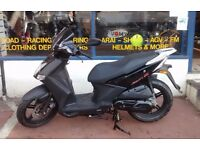 Kymco Agility City 125cc Scooter with 2 yrs Unlimited parts and Labour warranty