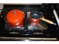 Cast Iron Lidded Casserole & Milk Pan Saucepan Set ~ Orange