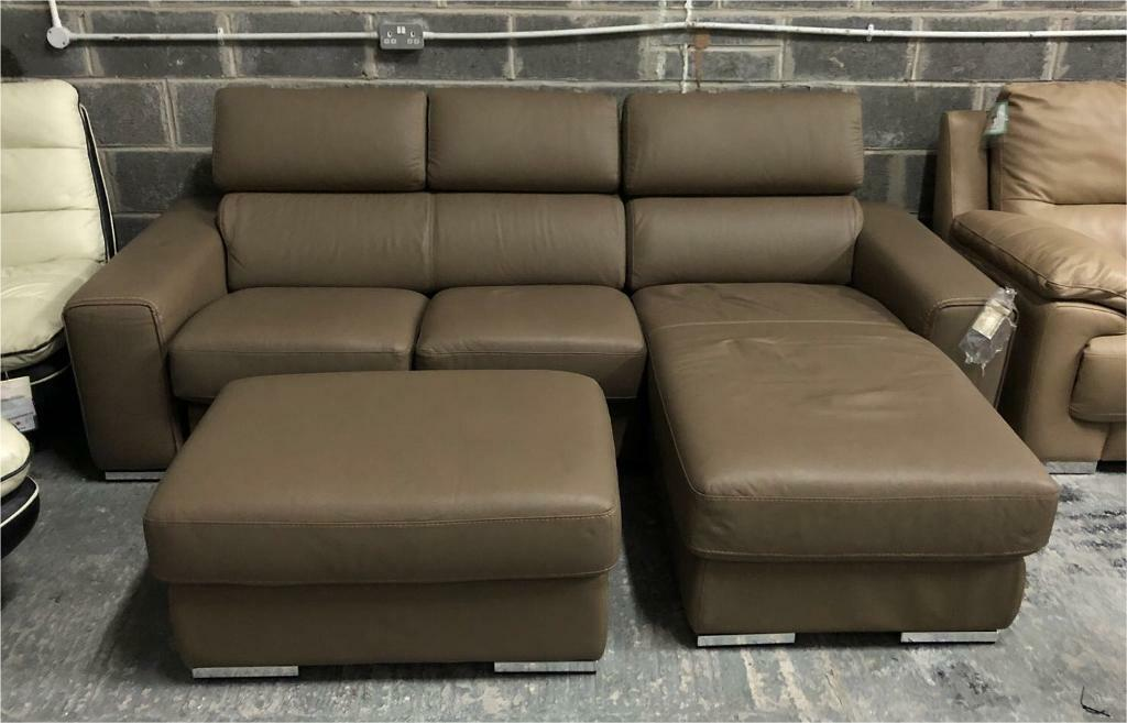 Dfs Kalamos Brown Leather 3 Seater Chaise Sofa Storage