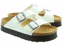 Birkenstock Arizona Platform 2 Buckle Mule Sandals in White Patent