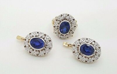 RUSSIAN VINTAGE STYLE 14K YELLOW GOLD DIAMOND & BLUE SAPPHIRE EARRINGS RING SET