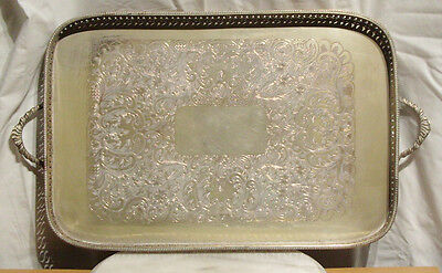 Silver On Copper large Serving Tray. Length 55 cm