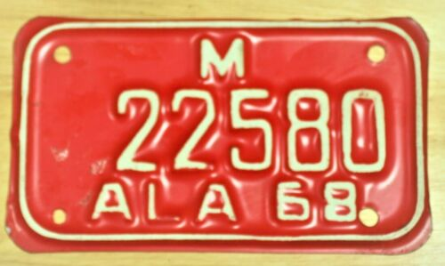 1968 ALABAMA 22580 MOTORCYCLE LICENSE PLATE TAG ITEM #2979