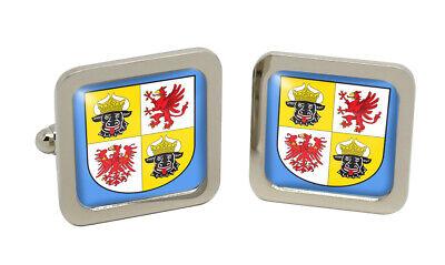 -mecklenburg-vorpommern (Deutschland_Quadrat Manschettenknopf in Chrom Kiste
