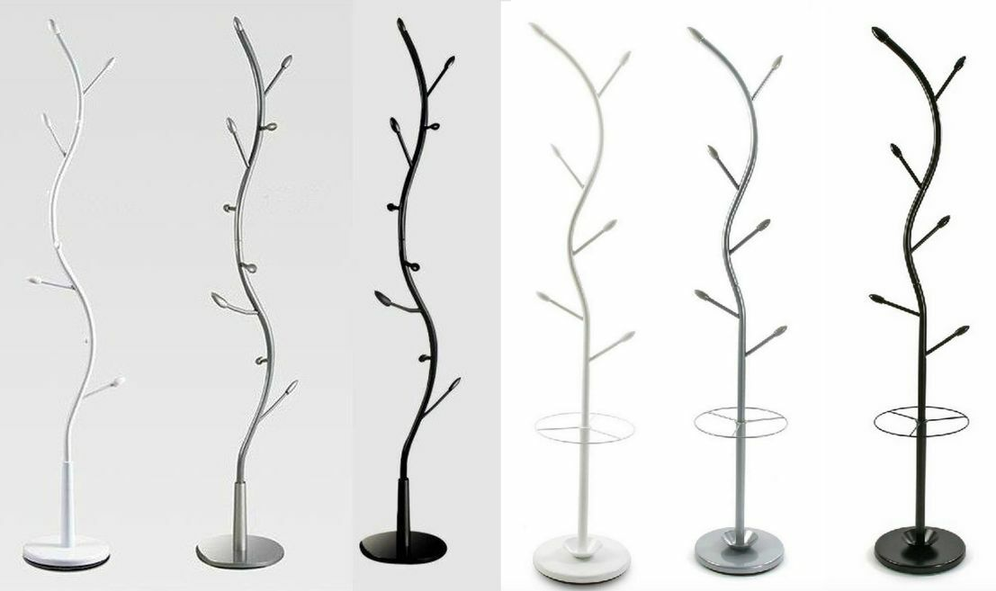 appendiabiti attaccapanni moderno design forma albero nero bianco silver