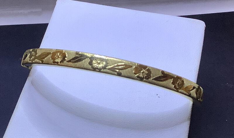 Antique Victorian 12K GF MARATHON Bangle Bracelet Flower Theme Excell 11 Gms