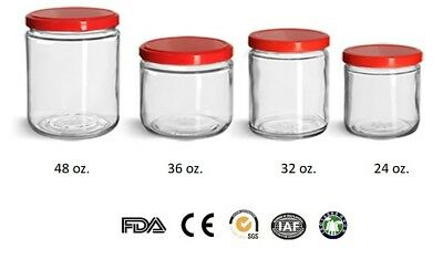 Victorian Style Round Glass Jars Set of 12 pc. 32 ounces w/ RED Plastic Lid NEW ()