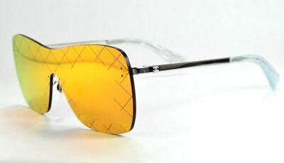 Chanel 4215 124/6Q Silver / Red Flash Mirror Crosshatch Shield   (Red Chanel Sunglasses)
