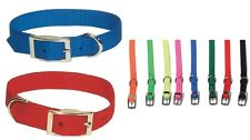 """Double Ply Nylon Dog Collars - 1"""" Wide - all colors - 18 to 26 inch Buckle"""