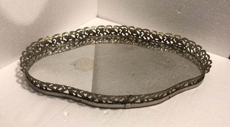 VINTAGE Ormolu Metal Filigree Mirrored Vanity Tray Mid-Century Modern Regency
