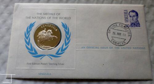 VENEZUELA Sterling Silver Coin Medal w/ NO ADDRESS Postage Stamp Cover