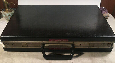 Vintage SLIM LINE BLACK BRIEFCASE 1970S HARD SHELL Modernist