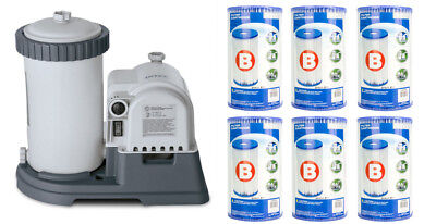 Intex 2500 GPH Krystal Dislodge Pool Filter Pump w/ GCFI & 6 Type B Cartridges