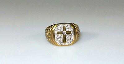 *ESTATE* NEW MEN'S 10K YELLOW GOLD + DIAMOND CROSS FINE JEWELRY RING