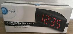 ONN Digital AM/FM Alarm Clock Radio with Large 1.8 Display - BRAND NEW IN BOX
