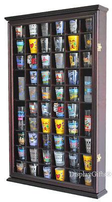 Shot Glass Holder (56 Shot Glass Display Case Holder Wall Cabinet  Rack Shadow Box -CHERRY)