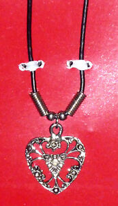Victorian Silver Filigree Heart Necklace on Leather Chain Cambridge Kitchener Area image 3