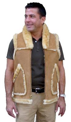 Men's Western Collar Sheepskin Vest, size 46
