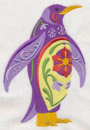 Embroidered Short-Sleeved T-Shirt - Flower Power Penguin L8710