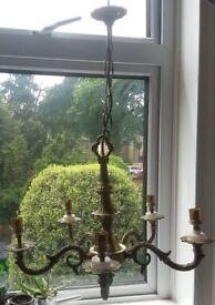 Vintage antique flemish 5 arm chandelier