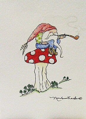 Greeting Card Tomte Troll Gnome Wichtel Zwerg Toadstool Pipe Drawing Picture