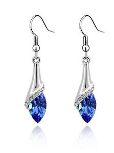 Amazing Silver & Royal Blue Angel Eye Tear Drop Dangle Earrings E504