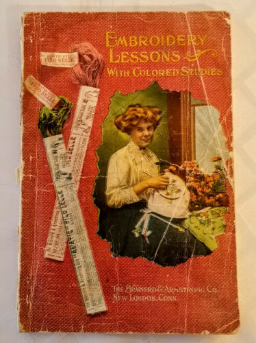 **Embroidery Lessons with Colored Studies 1909, ANTIQUE, VINTAGE **