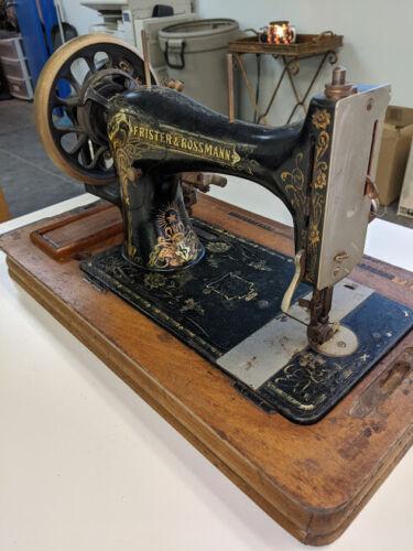 L👀K .: Frister & Rossmann Vintage Antique Hand Crank Sewing Machine - Nice!