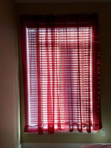 Sheer Red Curtains (2 panels)