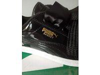 Puma Womens/Girl's Basket Heart Patent WN's Trainers Black Size UK4 EU 37 Boxed