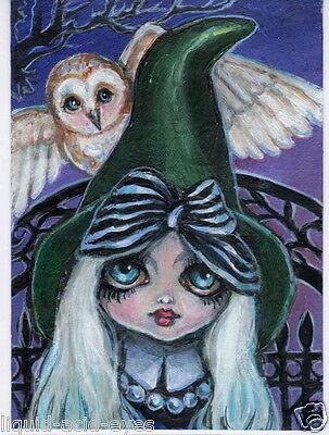 Aceo PRINT gothic witch owl halloween zombie big eyes #84 art Liquid Acid Eyes](Halloween Big Eyes)