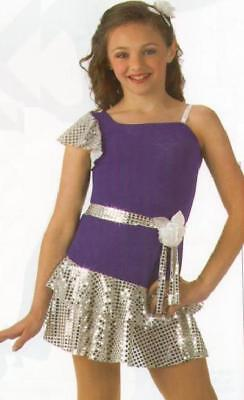 Miss Popular Dance Costume Purple & Silver Tap Ballet Dress Clearance Child 6x7 - Popular Kids Costume