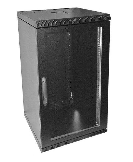 "19"" 18U 500mm Wall Mount Network Cabinet Rack, Glass Door w/lock"