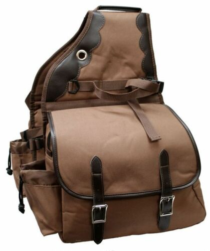 Showman Brown 600D Deluxe Insulated Nylon Saddle Bags Horse Tack Equine 0110