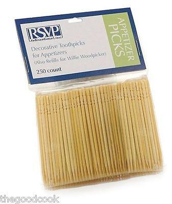 RSVP Carved Gourmet Toothpick Refills for Buffet Party or for Dispenser 250 pkg