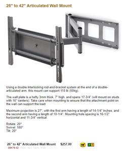 "26"" to 42"" TV Articulating Wall Mount"