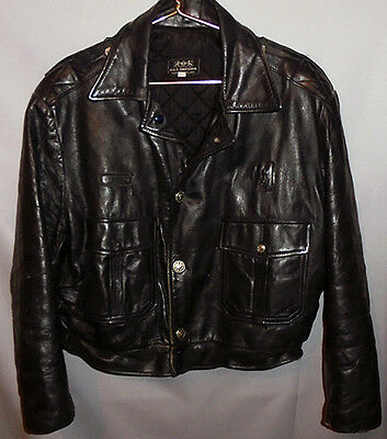 -Rare- 1950's -Motorcycle Police- Vintage Men's Leather Coat/Jacket - Size 46
