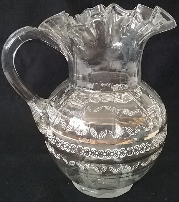 Victorian Ruffle Edge Clear Glass Pitcher Applied Handle Enamel White Gold Paint