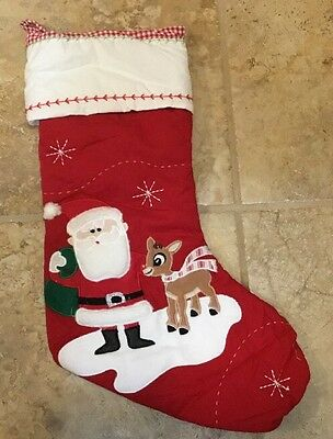 NEW Pottery Barn Kids Quilted Stocking Santa With Rudolph RED