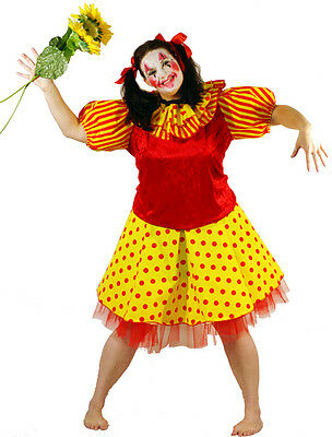 Funny Happy Circus Clown Fancy Dress Halloween All Plus Sizes