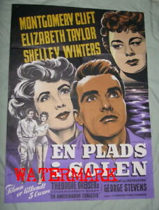 PLACE IN THE SUN (Danish) MOVIE POSTER 1953 MONTGOMERY CLIFT