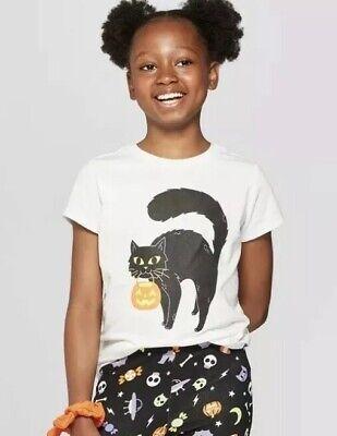 Jack White Halloween (NWT Cat & Jack White w/Black Halloween Cat T-shirt Girls M)