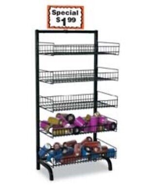 Adjustable Folding 5-tier Shelves Wire Bakery Bread Rack Floor Display Black New