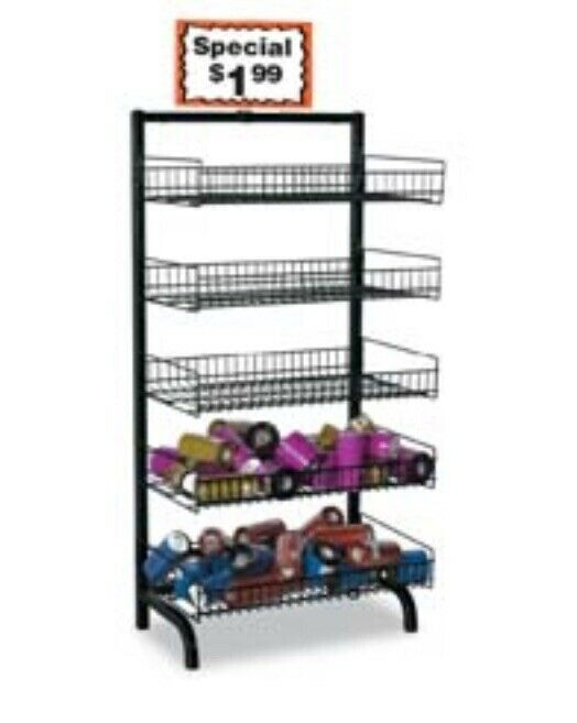 Adjustable Level 5-Tier Shelves Wire Bakery Bread Rack Floor Display Black New