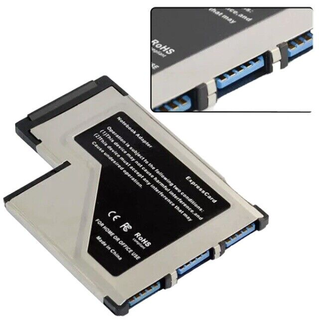 3 T Port USB 3.0 AF to Express Card 54mm Hidden Adapter With CD For Laptop